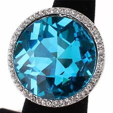 "1.10"" aqua crystal pave round stretch cocktail ring"