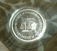 State of California Department of Justice Courtroom Sign/Glass Plate 1950's 13""