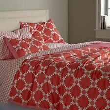 Crate & and Barrel GENEVIEVE F/Q Duvet Cover & St. Shams x 2- Coral/Pink/White