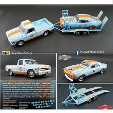 GMP / ACME GULF INSPIRED CAMARO, PICKUP & TANDEM CAR TRAILER SET 1:18 NEW!!