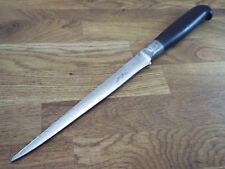 Sweden vintage EBONY & PEWTER FORGED CARBON STEEL Swedish Chef knife RAZOR SHARP