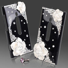 COOL LUXURY 3D Bling BLACK & WHITE ROSE Designer diamante caso 4 NOKIA LUMIA 800