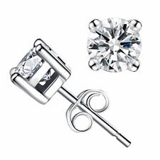 0.30 Cttw Round Cut 14K Solid White Gold Genuine Diamond Stud Earrings
