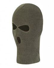 CLASSIC OLIVE GREEN 3 HOLE BALACLAVA - NEW - ONE SIZE - KIDS - FISHING - CAMPING