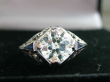 ART DECO DIAMOND RING, 1.42ct DIAMOND & SAPPHIRE RING, GENUINE c1920's, RARE!