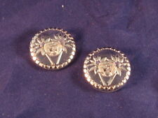 "2 Vintage Button Clear Glass w raised Silver Flower Buttons 1 1/8"" - Ex Cond"