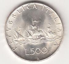 ITALIA LIRE 500 ARGENTO SILVER CARAVELLE  Quasi SPLENDIDA 1959 PREZZO REGALO