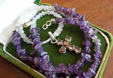 VTG Silver Cross Pendant Violet Amethyst Pebble Moonstone Bead Necklace 1D 56
