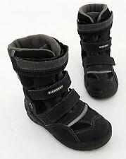 Boots Richter Stiefel Klettverschluss Kunstleder Textil schwarz grau Gr. 25