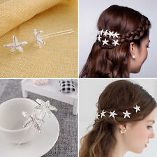 Women Crystal Exquisite Mini Sliver Starfish Hair Comb Clip Barrette Hairpin