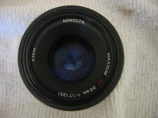 MINOLTA MAXXUM AF 50MM F1.7 LENS W/ FILTER & CAPS