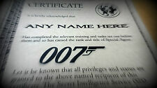 007 Secret Agent Personalised Certificate - Great James Bond Fan Fun Gift