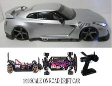 1/10 Scale NISSAN GT-R RTR Custom RC Drift Cars 4WD 2.4Ghz & Charger silver