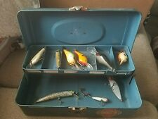 Vintage Blue Metal  Fishing Tackle Box - 1960's 9 Lures.