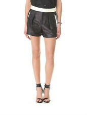 HELMUT LANG Metallic with White Leather Trim SHY Shorts in OLD SILVER Size 6 NWT