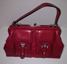 Red Shinny, Sling Bag, XOXO Woman's purse, Metal Frame