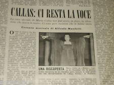 MARIA CALLAS clipping ritaglio articolo foto fotografia 1977 CI RESTA LA VOCE