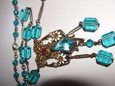 ANTIQUE ART DECO SAPPHIRE BLUE GLASS NECKLACE FILIGREE GOLD FILLED  14K CLASP