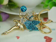 Blue Angel Keyring Rhinestone Crystal Jewellery Women Keychain Bag Pendant Gift