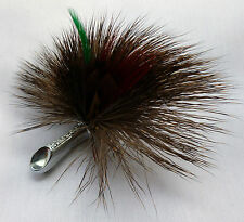 GENUINE SCOTTISH STAG DOE FUR FEATHER PLUME BROOCH by MIRACLE DF42 HIGHLANDWEAR
