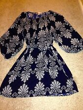 Forever 21 Navy And White Print Dress - Size Small