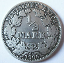 ALLEMAGNE .EMPIRE .1/ 2 MARK .SILVER 900°/°° 2.777 GR. 2 CM  1906 A