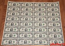 $2 UNCUT SHEET 2x32 TWO DOLLAR BILLS UNITED STATES CURRENCY MONEY BEP NEW