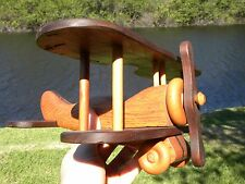 Antique Folk Art Hand Carved Wood Toy Airplane  with propeller Model toy