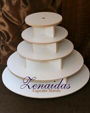 ROUND CUPCAKE TOWER 5 TIER WHITE MELAMINE WOOD WEDDING CUPCAKE STAND BIRTHDAY