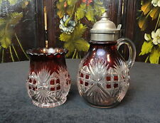 EAPG Antique Pattern Glass RUBY Flashed MAJESTIC / Pilgrim SYRUP & SPOONER