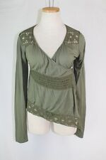 ANTHROPOLOGIE Tiny Tilly Cardigan SMALL Moss Jersey Knit Lace Wrap Top Shirt