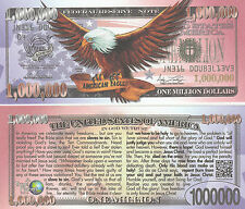 Freedom Eagle Million Dollar Bill Fake Funny Money Gospel Tract Novelty Note