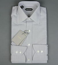 New Tom Ford Dress Shirt White Gray Micro Check Pattern Size 15 38 NWT