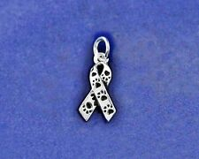 Sterling Silver Pl Paw Print Awareness Ribbon Charm Animal Rescue Lover Dog Cat