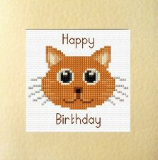 "Ginger Cartoon Cat ""Happy Birthday"" Cross Stitch Card Kit 5.5"" x 5.5"" - 14 count"