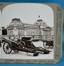 WW1 Stereoview Captured German Guns King Albert Palace Brussels Realistic Travel