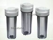 "3 Contemporary Clear Water Filter Housing Standard 10"" for Reverse Osmosis 1/4"""