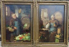 Pair of 19th c. Munich School Paintings of Drinking Monks, C. Horst ala Grutzner