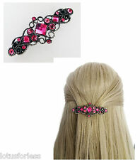 Beautiful Vintage Look Pink Diamante Barrette Hair Clip Grip 7.5 cms