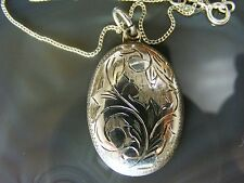 Vintage Sterling Silver Necklace Etched PENDANT Locket Style