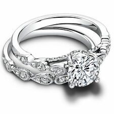 1.30Ct Diamond Wedding Engagement Ring Set Fine 14k White Gold Round Cut 38