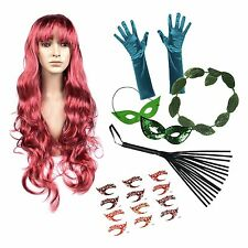 Poison Ivy Deluxe Fancy Dress Set (Wig, Gloves, Halo, Mask, Whip, Tattoos)