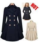 Womens Slim Double Breasted Trench Coat Long Outwear Overcoat Windbreaker