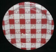 Plastic Coated Plates  Red and White Squares 8 Ct. 8-7/8""