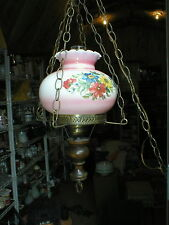 Vintage Hurricane 3 Chain Hanging Lamp with Hand Painted Flowers on Glass Shade