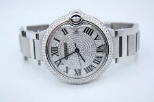 CARTIER BALLON BLEU 42MM STAINLESS DIAMOND ENCRUSTED WATCH REF: W69012Z4