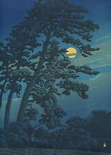 "HASUI KAWASE Japanese woodblock print ORIGINAL Shin-hanga ""Full Moon at Magome"""