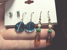 faceted green stud + blue glass disk + orange desert silver dangle earrings 3 pr