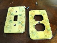 VTG The Chic Buckler Enamel Outlet Switch Wall Plate Cover Floral Shabby Frame