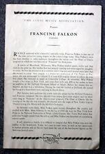 1940s FRANCINE FALKON CONCERT PROGRAM Rare CLASSICAL Opera Singer CONTRALTO